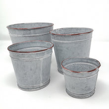 Load image into Gallery viewer, ZINC PLANT POT LARGE PKD 12 £2.08 EA.