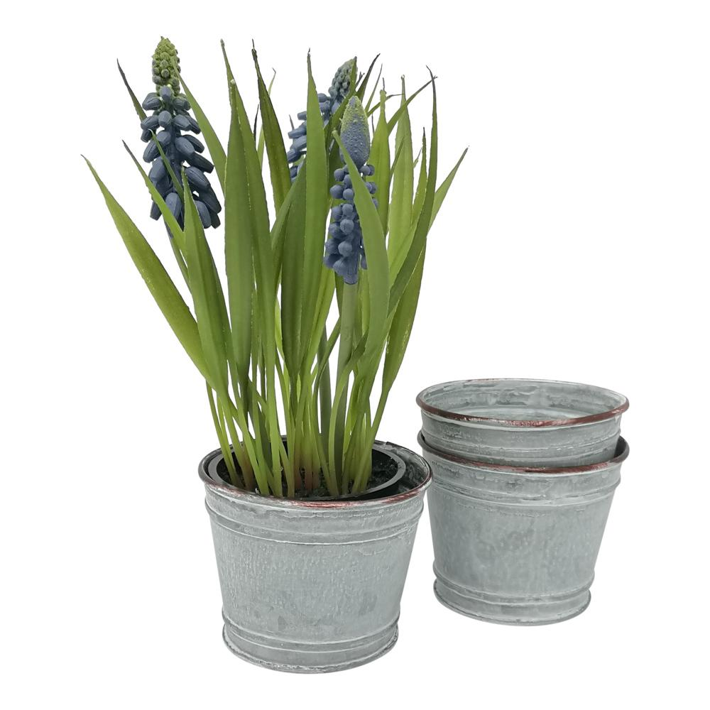 ZINC PLANT POT LARGE PKD 12 £2.08 EA.