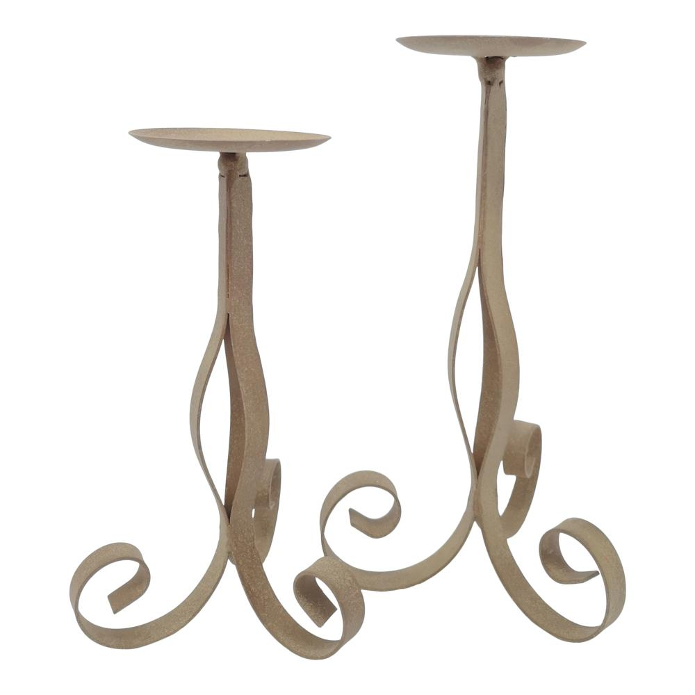 SCROLL CANDLEHOLDER ANTIQUE RUST PKD 2 £3.72 EA.