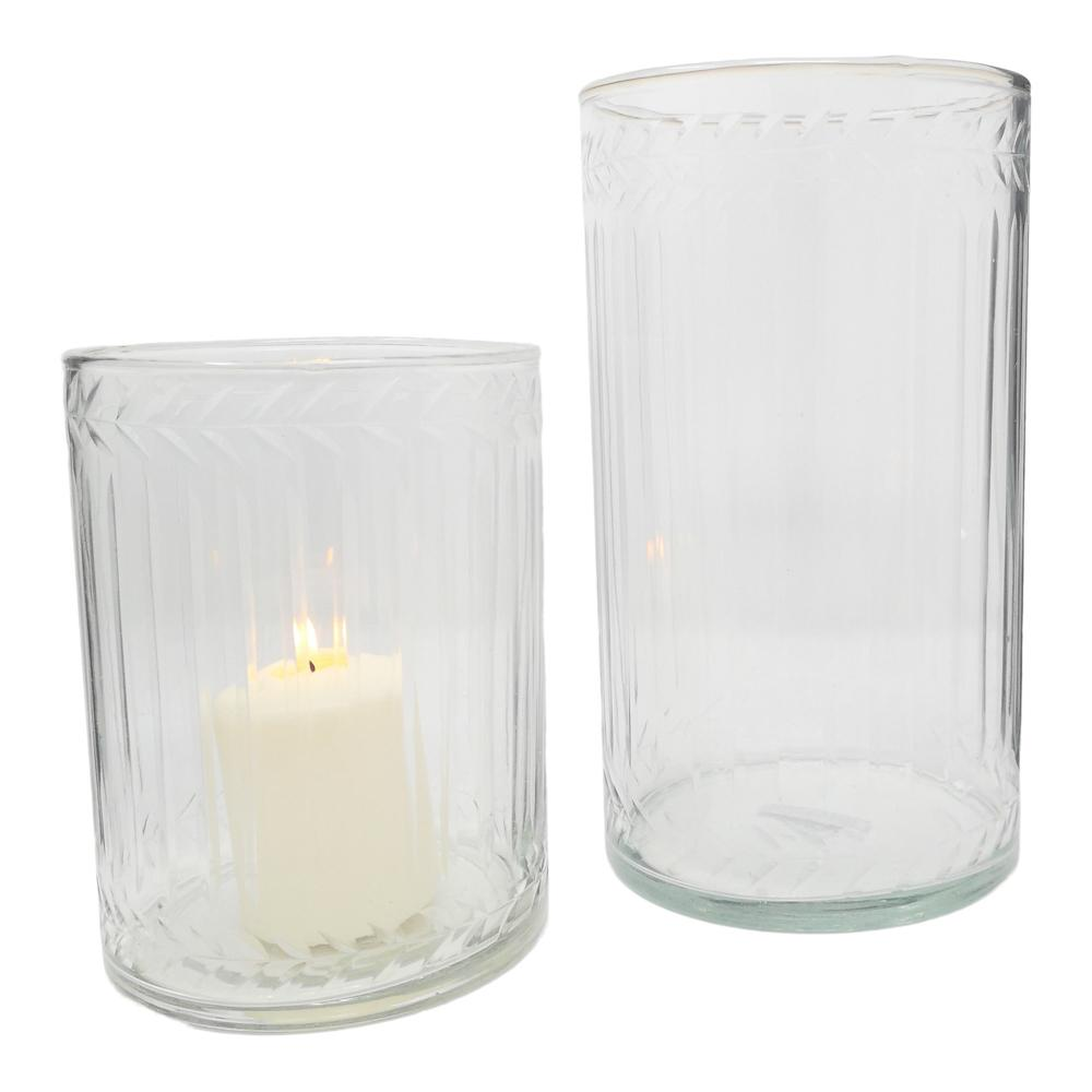 ETCHED GLASS HURRICANE LGE PKD 2 £9.98 EA.