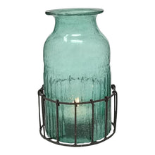 Load image into Gallery viewer, BOTTLE T-LIGHT IN BASKET SEA GREEN PKD 4 £6.23 EA.