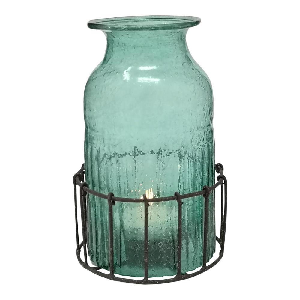 BOTTLE T-LIGHT IN BASKET SEA GREEN PKD 4 £6.23 EA.