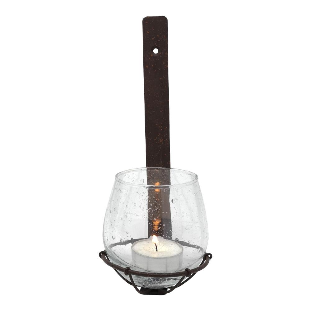 WALL BASKET WITH VOTIVE LUCA RUST PKD 4 £6.23 EA.