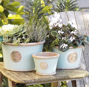 Kew Low Planters - Set of 3 Duck Egg