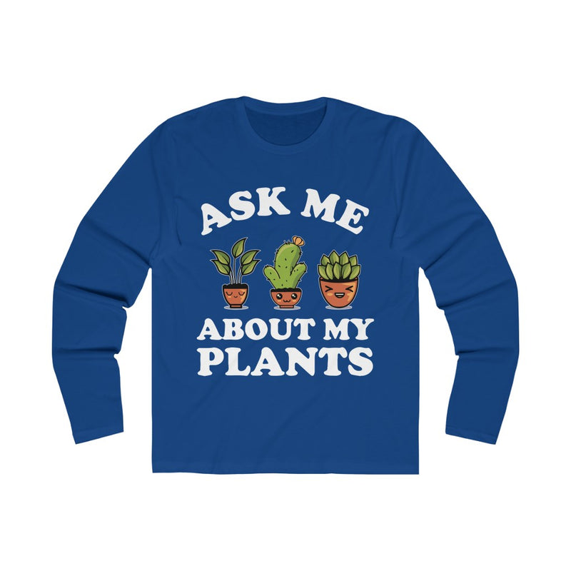 Navy Ask Me About My Plants Long Sleeve Tee