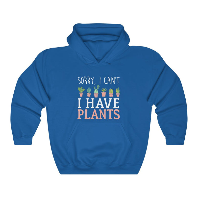 Royal Blue Sorry I Can't I Have Plants Hoodie