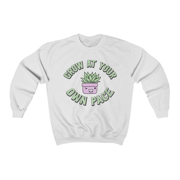 White Grow At Your Own Pace Sweatshirt