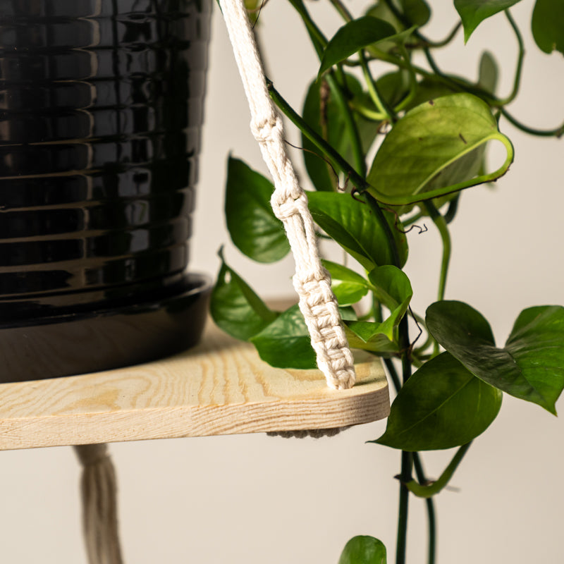 Macrame Plant Hanger Shelf - 28in
