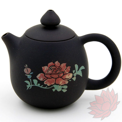 2016 Jianshui Zitao Clay Teapot Dragon's Egg Style With Flowers - 120ml :: FREE SHIPPING