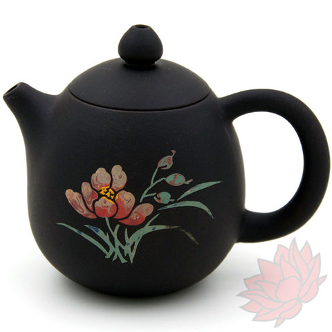 2016 Jianshui Zitao Clay Teapot Dragon's Egg Style With Flowers - 130ml :: FREE SHIPPING SOLD