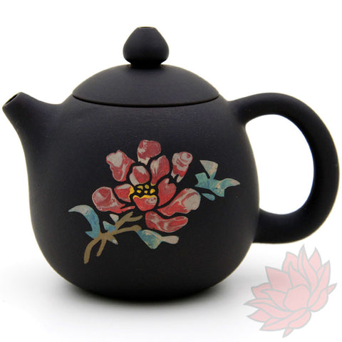 2016 Jianshui Zitao Clay Teapot Dragon's Egg Style With Flowers - 110ml :: FREE SHIPPING