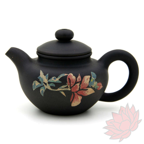 2016 Jianshui Zitao Clay Teapot Fang Gu Style With Flowers - 60ml :: FREE SHIPPING
