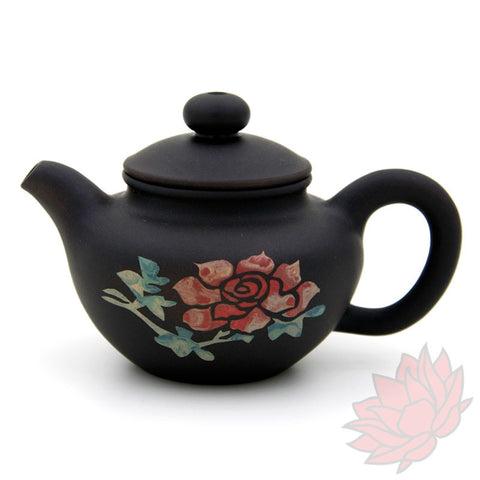 Jianshui Zitao Clay Teapot Fang Gu Style With Flowers - 60ml :: FREE SHIPPING