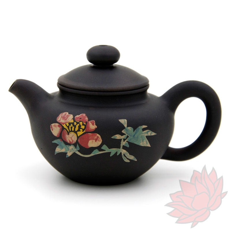 2016 Jianshui Zitao Clay Teapot Fang Gu Style With Flowers - 80ml :: FREE SHIPPING