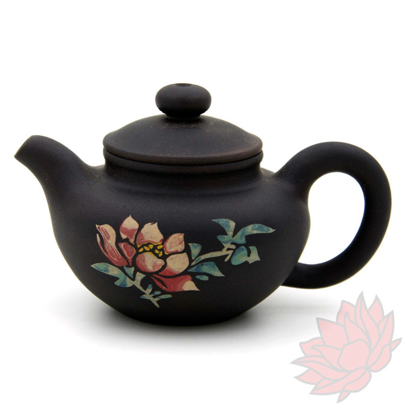 Jianshui Zitao Clay Teapot Fang Gu Style With Flowers - 70ml :: FREE SHIPPING