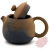 Wood Fired Jianshui Zitao Clay Teapot Dragon's Egg Style with Carved Lotus - 120ml :: FREE SHIPPING