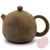 Wood Fired Jianshui Zitao Clay Teapot Dragon's Egg Style with Carved Lotus - 130ml :: FREE SHIPPING