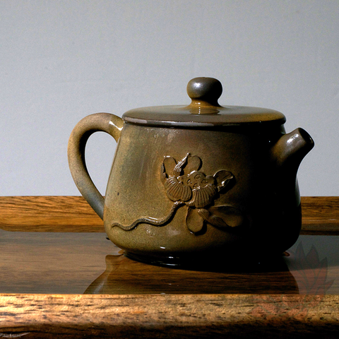 Wood Fired Jianshui Zitao Clay Teapot Shi Piao Style with Carved Lotus - 110ml :: FREE SHIPPING
