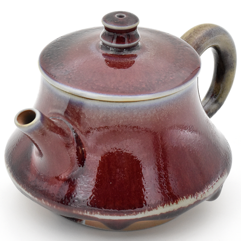 Dark Crimson Glazed Huaning Teapot - 200ml :: FREE SHIPPING