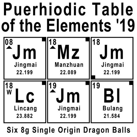 Puerhiodic Table of the Elements 2019 - 6x Sheng Puerh Tea Dragon Balls