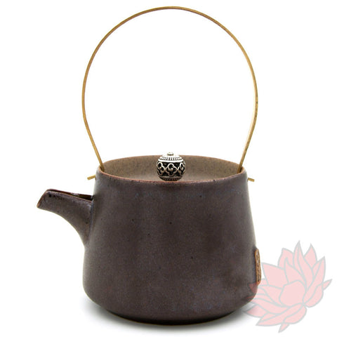 Brass Handled Glazed Clay Teapot 200ml :: FREE SHIPPING