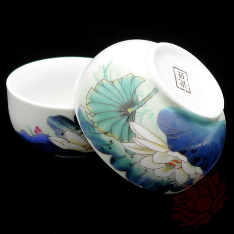 Porcelain Tea Cups - Lotus Style - Set of 2