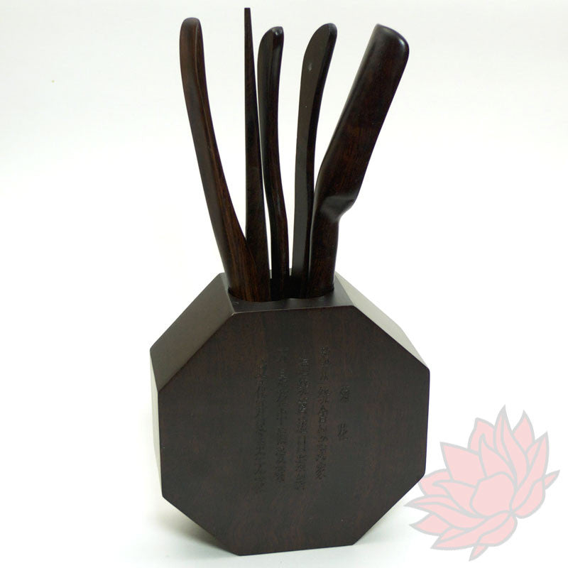 Large Ebony Tea Tool Set with Chrysanthemum