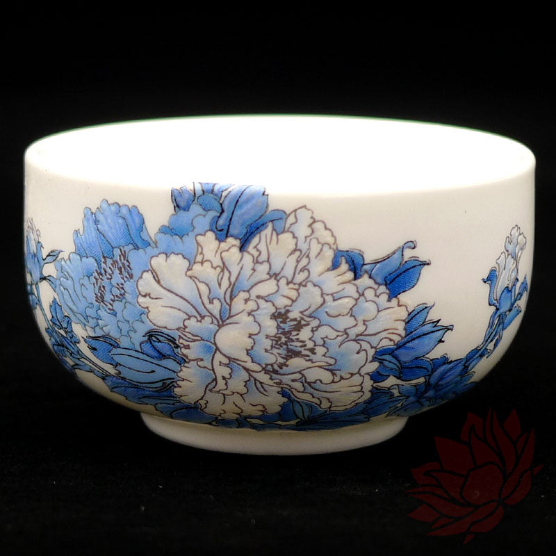 Porcelain Tea Cups - Blue Peonies Style - Set of 2