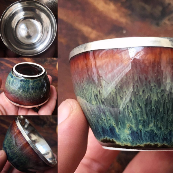 Handmade Silver Cups 50ml - Waterfall Glazed :: FREE SHIPPING