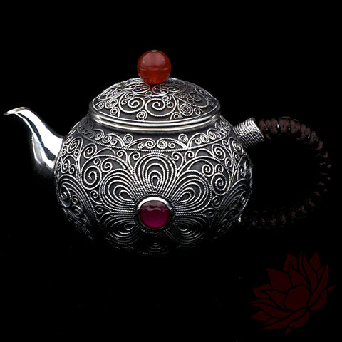 Solid Silver Teapot - Filigree Pattern 130ml :: FREE SHIPPING