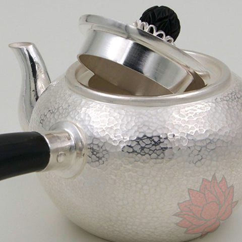 Handmade Solid Silver Gongfu Teapot w/ Horn Handle 230ml :: FREE SHIPPING