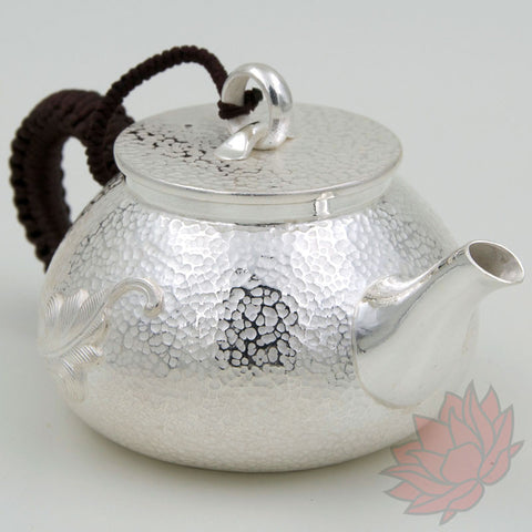 Handmade Solid Silver Gongfu Teapot w/ Leaf and Ring Knob 230ml :: FREE SHIPPING