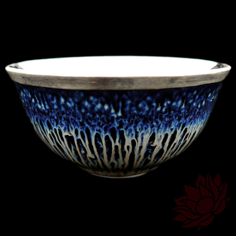 Handmade Silver Cup 50ml - Blue Waterfall Glazed :: FREE SHIPPING