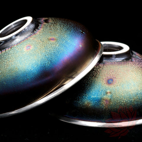 Handmade Silver Cup 60ml - Low Profile Rainbow Galaxy Texture :: FREE SHIPPING