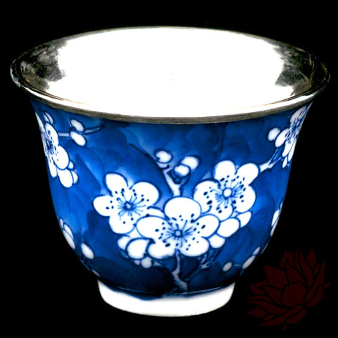 Handmade Silver Cup 40ml - Hand Painted Blue Porcelain :: FREE SHIPPING