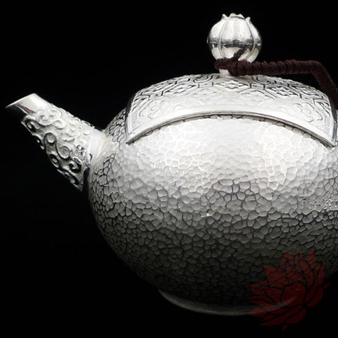 Handmade Solid Silver Gongfu Teapot w/ Square Lid 140ml :: FREE SHIPPING