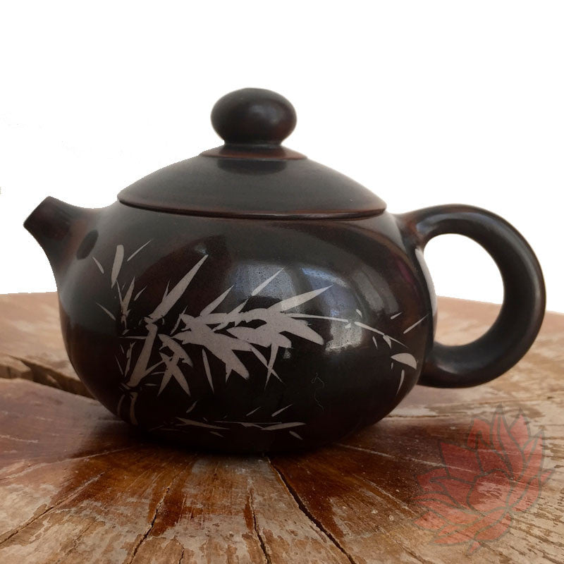 Jianshui Zi Tao Clay Teapot Brown with Bamboo in the Wind 130ml - FREE SHIPPING