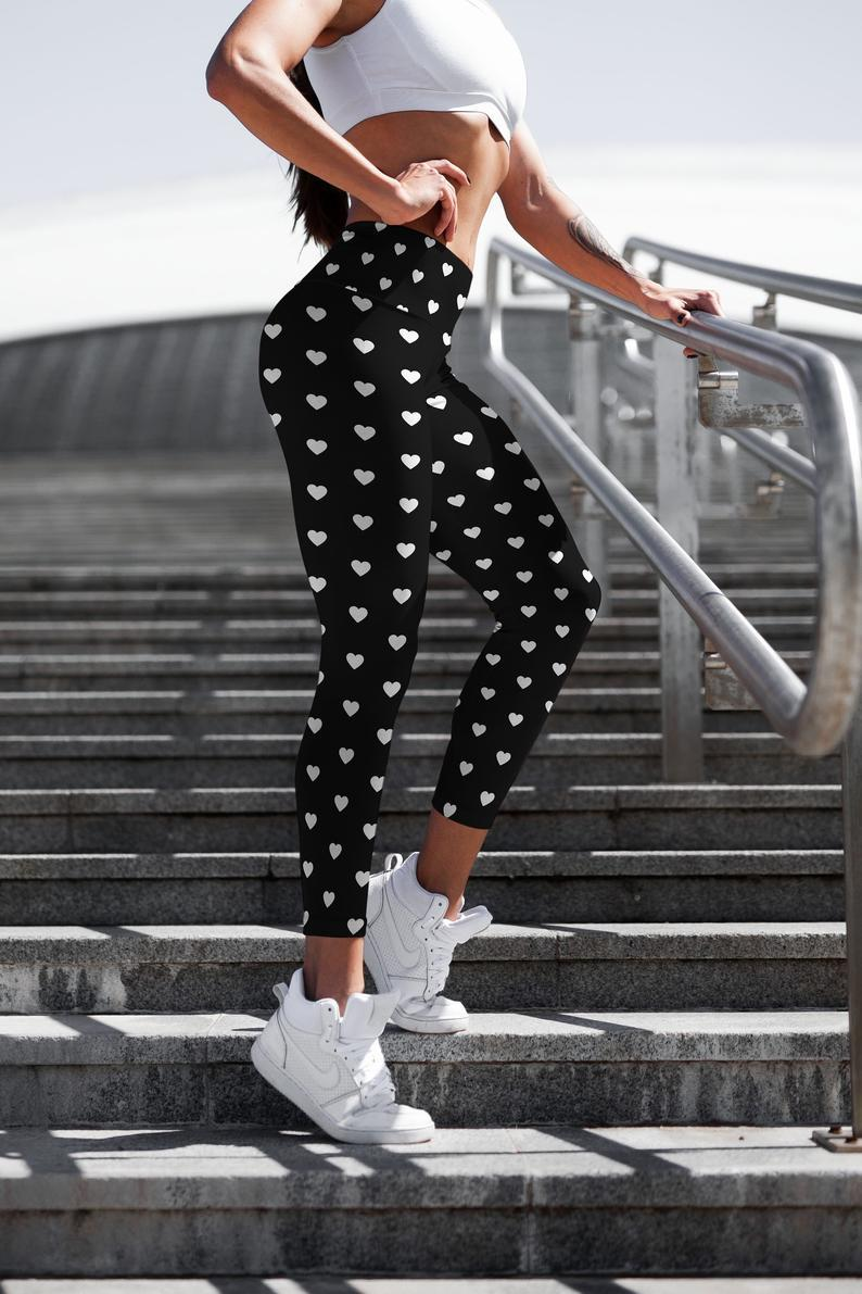 Valentine Black leggings, Capris and Shorts