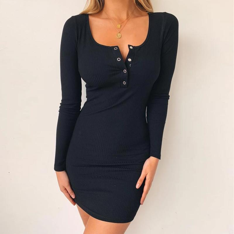 Elegant Long Sleeve Buttons Ribbed Mini Bodycon