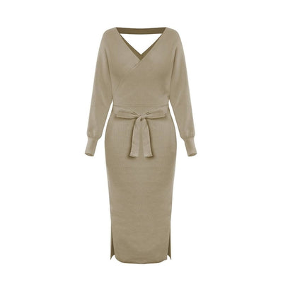 Batwing Sleeve Knitted Sweater Dress with Sashes