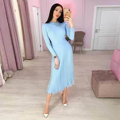 Solid Color Pleated Long Sweater Knitted Dress