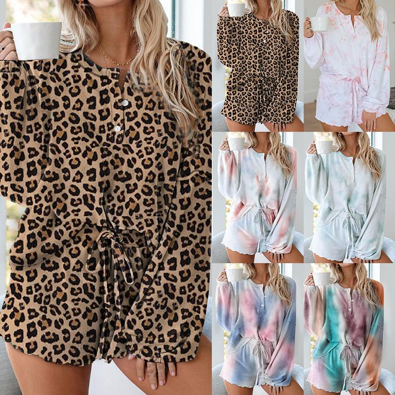 2 Piece Set Top and Pant Women Summer Long Sleeve Tie Dye Suit Set