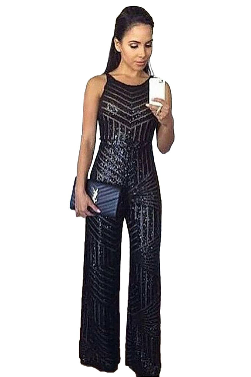 Black Geometric Stripe Sequin Sleeveless Wide Leg