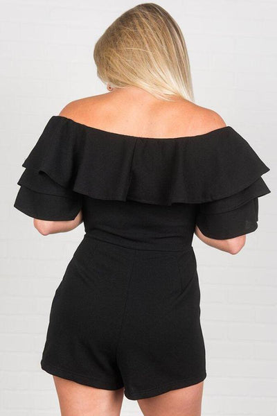 Black Ruffled Detail Short Sleeve Playsuit