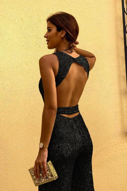 Black Sleeveless Sexy Sequin Party Jumpsuit