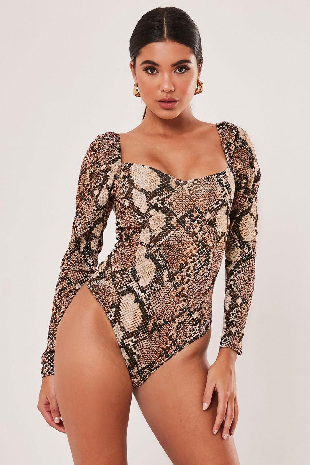 Brown Snake Print Square Neck Puff Long Sleeve