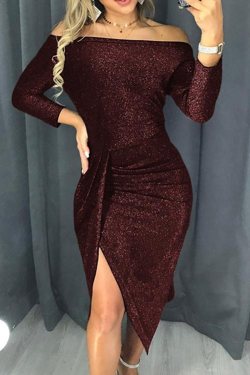 Burgundy Off Shoulder Ruched Thigh High Slit