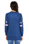 Fashion Floral Patch Accent Navy Sweatshirt