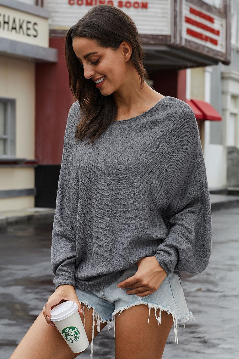 Gray Oversized Chillaxin' Dolman Knit Sweater