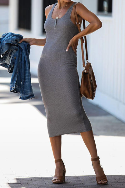 Gray Summer Sleeveless Ribbed Knit Midi Dress